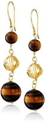 Gold-Plated Sterling Silver Linked Tiger's Eye Beads with Glass Bead Drop Earrings