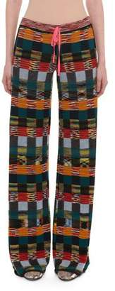 Missoni Pull-On Patchwork Wool Wide-Leg Pants