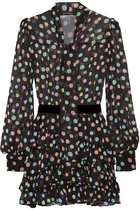 Marc Jacobs - Belted Polka-dot Chiffon Mini Dress - Black $695 thestylecure.com