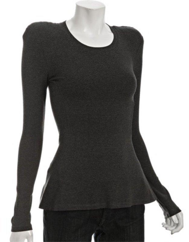 Torn grey modal jersey shoulder pad t-shirt