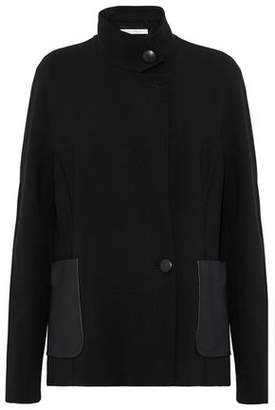 Max Mara Agreste Leather-Paneled Wool-Blend Jacket