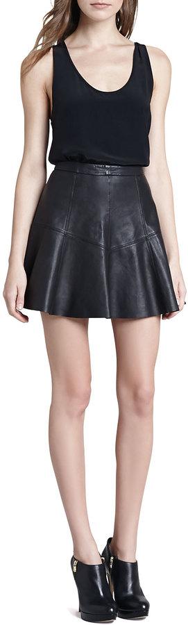 Rebecca Minkoff Ibiza A-Line Leather Skirt