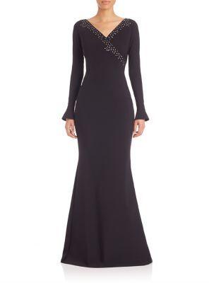 La Petite Robe di Chiara Boni Embellished Long Sleeve Gown $1,090 thestylecure.com
