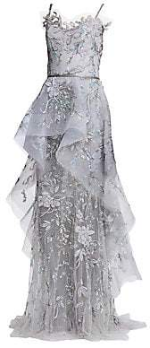 Marchesa Women's Embroidered Tulle Sculptural Peplum Gown