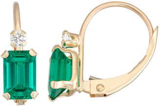 FINE JEWELRY Green Emerald 10K Gold Rectangular Drop Earrings