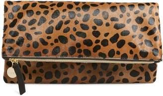 Clare Vivier Genuine Calf Hair Leopard Print Foldover Clutch