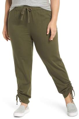 Caslon R) Side Ruched Ankle Pants (Plus Size)
