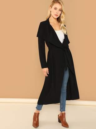 Shein Draped Collar Self Belted Longline Coat