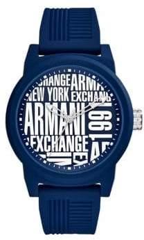 Armani Exchange ATLC Matte Blue Silicone Strap Watch
