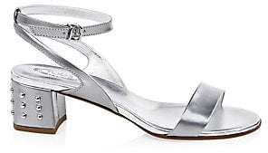 Tod's Women's Metallic Leather Ankle-Strap Sandals