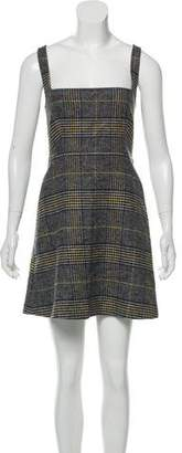 ALEXACHUNG Plaid A-Line Dress