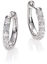 Jude Frances Women's Jude Diamond & 18K White Gold Huggie Hoop Earrings/0.5""