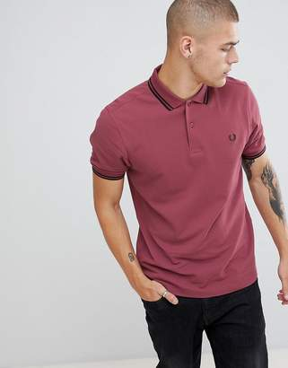 Fred Perry twin tipped polo in light burgundy