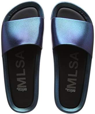 Melissa Women's Beach Slide Shine Open Back Slippers, (Blue Iridescent), 43 EU
