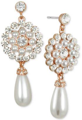 Badgley Mischka Crystal & Imitation Pearl Flower Drop Earrings