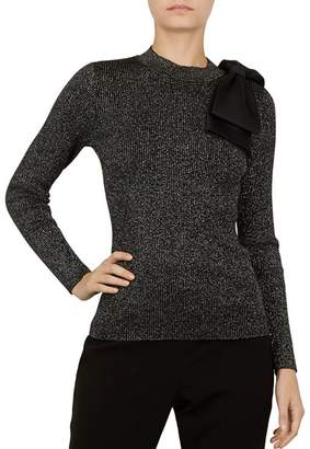 Ted Baker Lizziia Bow-Detail Metallic Sweater