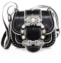 Miu Miu Miu Miu Dahlia Jewel-Buckle Studded Leather Shoulder Bag