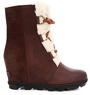 Sorel Women's Joan Wedge II Shearling-Lined Leather Waterproof Boots