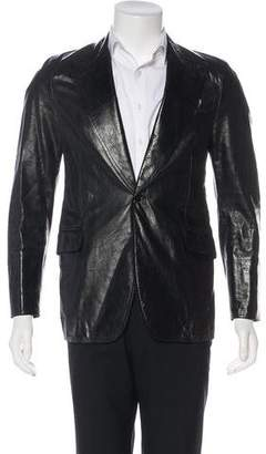 CNC Costume National Leather Notched Lapel Blazer