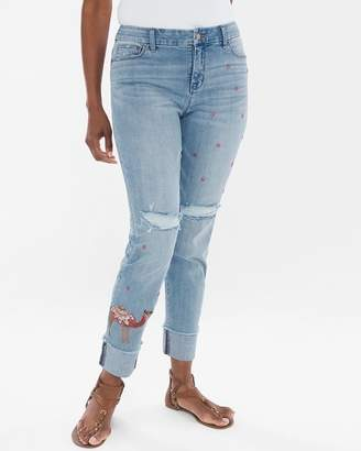 So Slimming Camel-Embellished Girlfriend Ankle Jeans