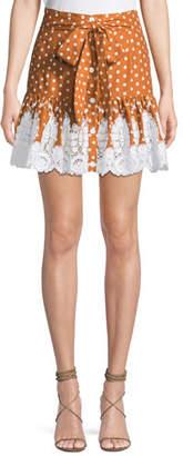 Miguelina Emy Dot-Print Broderie Anglaise Flounce Skirt
