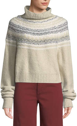 Vince Cropped Fair Isle Turtleneck Sweater