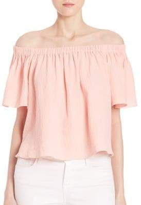 Rebecca Taylor Off-Shoulder Cotton Gauze Top