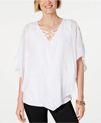 JM Collection Embroidered Gauze Poncho Top