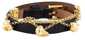 Alexander McQueen Leather Skull Chain Double Wrap Bracelet