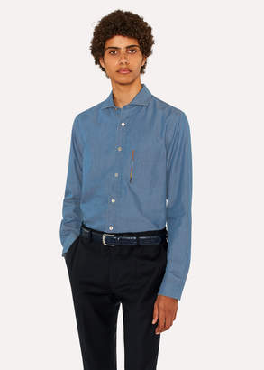 Paul Smith Men's Tailored-Fit Blue Chambray Shirt With 'Artist Stripe' Pocket Embroidery