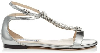 Jimmy Choo AVERIE FLAT Silver Liquid Mirror Sandals with Silver Crystal Piece