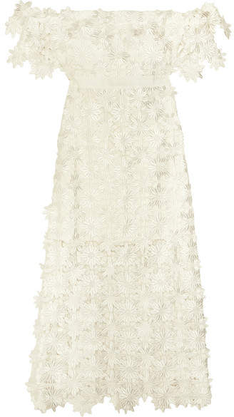 Self-Portrait - Off-the-shoulder Guipure Lace Midi Dress - White