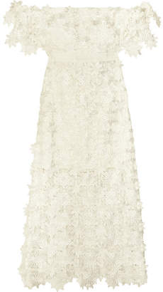 Self-Portrait - Off-the-shoulder Guipure Lace Midi Dress - White $431 thestylecure.com