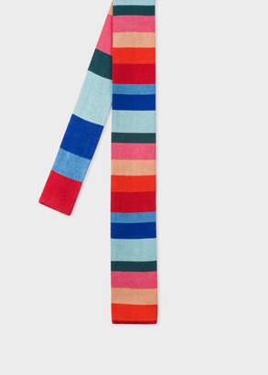 Paul Smith Men's Multi-Coloured 'Artist Stripe' Knitted Silk Tie