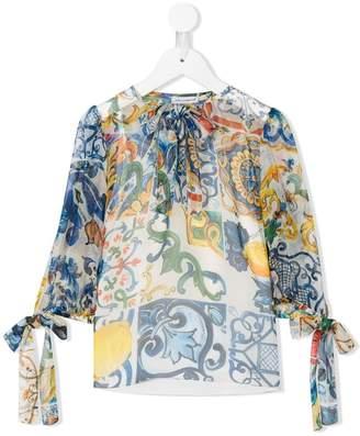 Dolce & Gabbana Majolica print tied blouse