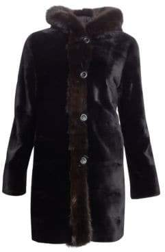 The Fur Salon Reversible Hooded Mink& Sable Fur Coat