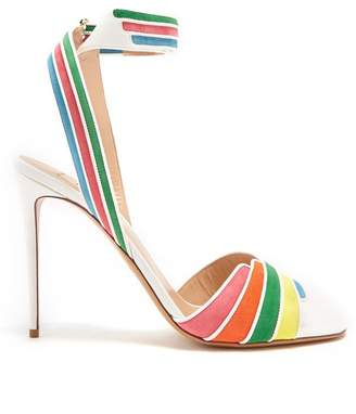 Valentino Striped Leather And Suede Sandals - Womens - White Multi