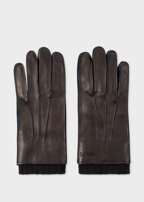 Paul Smith Men's Black Deerskin Silk-Cashmere Lined Gloves