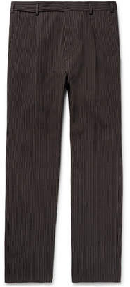 Bottega Veneta Slim-Fit Pleated Striped Cotton and Wool-Blend Trousers - Men - Navy