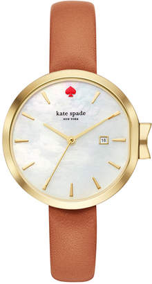 Kate Spade Women's Park Row Luggage Leather Strap Watch 34mm KSW1324