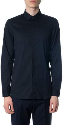 Mauro Grifoni Navy Cotton Poplin Shirt