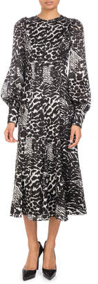 Andrew Gn Blouson-Sleeve Animal-Print A-Line Silk Midi Dress