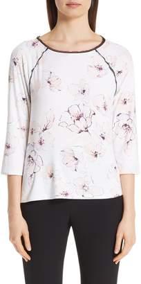 St. John Floral Print Silk Top