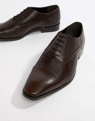 Dune Toe Cap Derby Shoes In Brown Leather