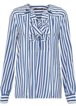 Derek Lam Lace-Up Striped Washed-Silk Blouse