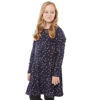 Board Angels Girls AOP Long Sleeved Dress Navy/Multi