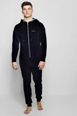 dac339557a boohoo Velour Hooded Onesie With MAN Embroidery