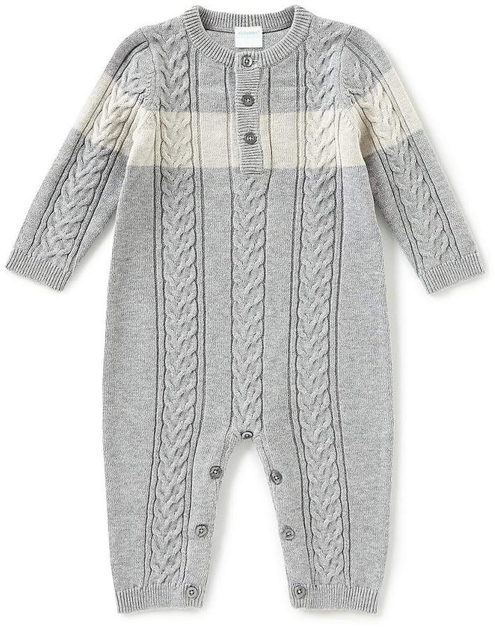 Edgehill Collection Baby Boys Newborn-6 Months Long Sleeve Sweater Knit Coveralls