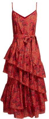 Borgo de Nor Coco Orchid And Leopard Print Crepe Midi Dress - Womens - Red Print