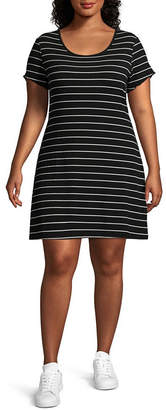 Arizona Short Sleeve Bodycon Dress-Juniors Plus